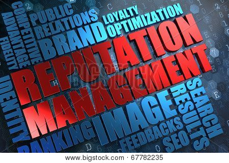 Reputation Management - Red -Blue Wordcloud.
