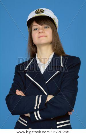 Portrait of the proud woman - the sea captain on blue poster