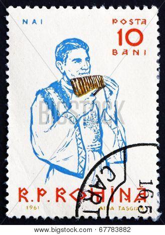 Postage Stamp Romania 1961 Peasant Playing Panpipe