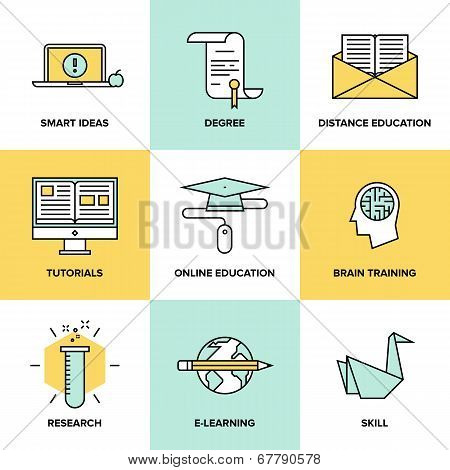 Online Education And Training Flat Icons Set