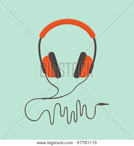 poster of Orange headphones. Vector illustration. Modern flat style.