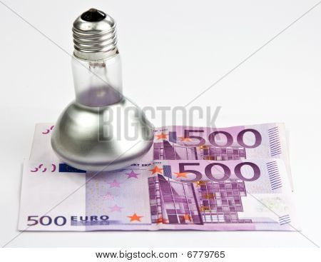Concept Of 500 Euro Bills And Light Bulb
