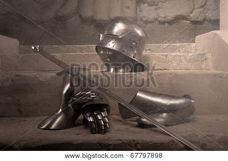 Medieval armor closeup portrait
