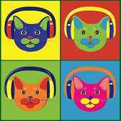 Set of multicolored cats in the music headphones in colored style poster