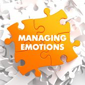 Managing Emotions - Yellow Puzzle On White Background. poster