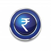 Rupee Currency Sign Circular Vector Blue Web Icon Button poster
