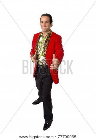 Funny Rake Playboy And Bon Vivant Mature Man Wearing Red Casino Jacket And Hawaiian Shirt Standing H