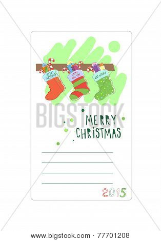 Three Christmas socks. Card for wishes. Vector illustration
