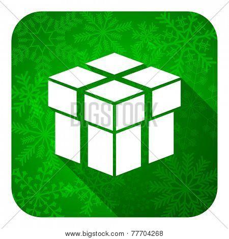 box flat icon, christmas button