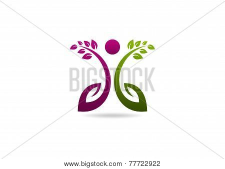 natural woman fit vector logo design template