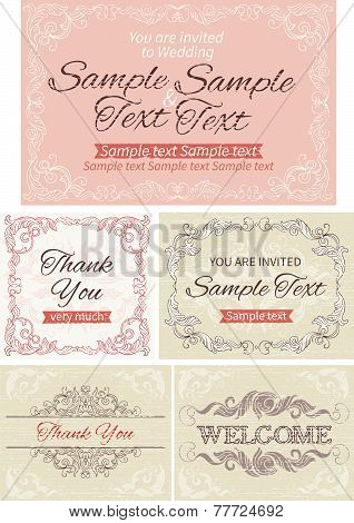 Vintage invitations and frames