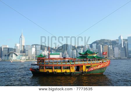 Chinese Ship In Hong Kong Victoria Habour