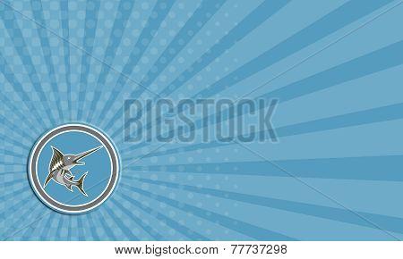Business Card Blue Marlin Fish Jumping Circle Retro