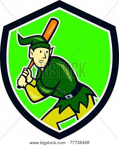 Elf Baseball Player Batting Shield Cartoon