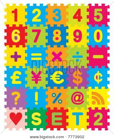 Vector Numbers, Maths and Symbols Puzzle Set
