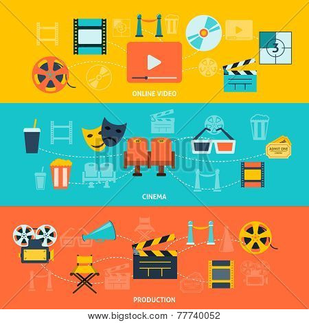 Cinema movie premiere tickets video online film production retro symbols  horizontal banners set abstract flat vector illustration poster