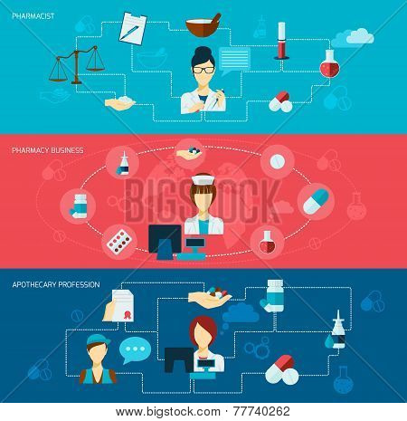 Pharmacist flat banner set with pharmacy business apothecary profession isolated vector illustration poster