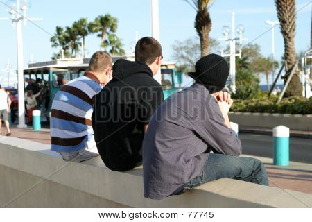 Teenaged Boys On Wall