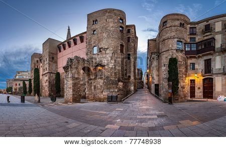 Panorama of Ancient Roman Gate and Placa Nova in the Morning Barri Gothic Quarter Barcelona Catalonia Spain poster