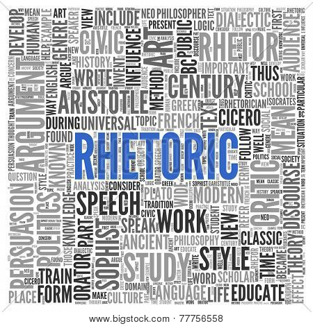 Close up Blue RHETORIC Text at the Center of Word Tag Cloud on White Background.