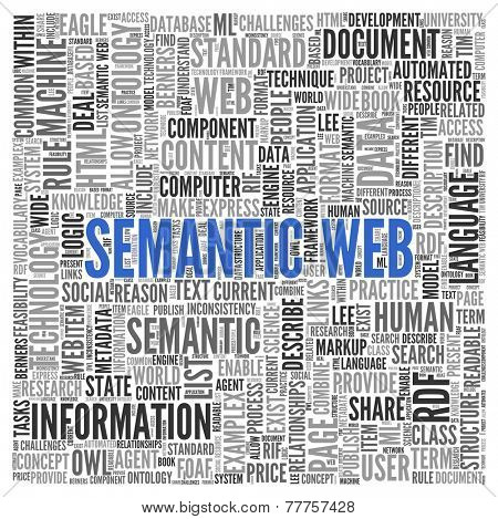 Close up Blue SEMANTIC WEB Text at the Center of Word Tag Cloud on White Background.