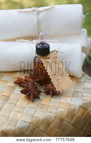 Star anise essential oil in a dropper bottle