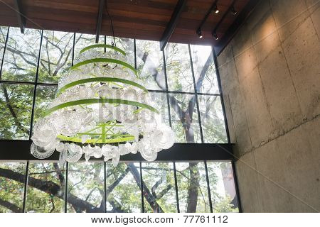 Create Glass Chandelier Hanging From Ceiling