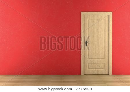closed brown wooden door on red wall