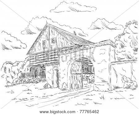 vector - The old house in village, Czech republic, Europe