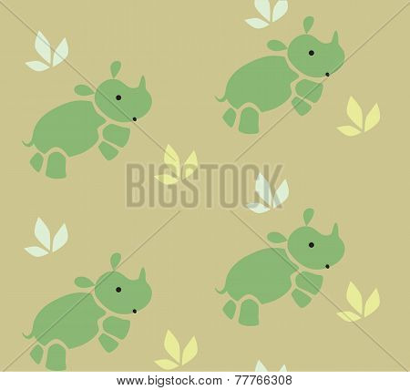 Seamless Pattern With Funny Rhinos.