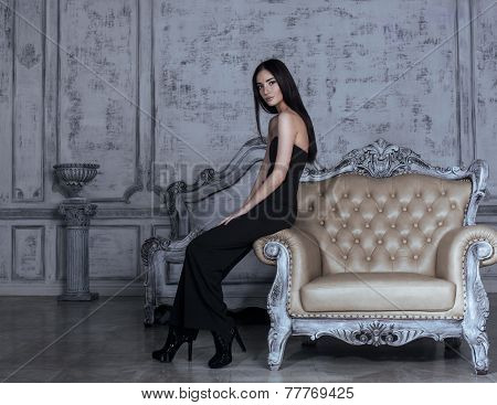 beauty young brunette woman in luxury home interior