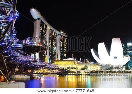 Helix Bridge, Marina Bay Sand And Artscience.