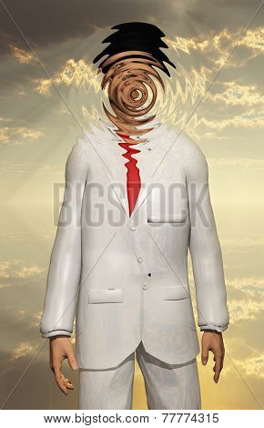 Man in white Suit Face Obscured