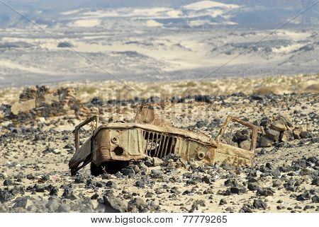 Remains of a cabin of a Soviet truck GAZ-66 at the former mine field near Aden, Yemen.