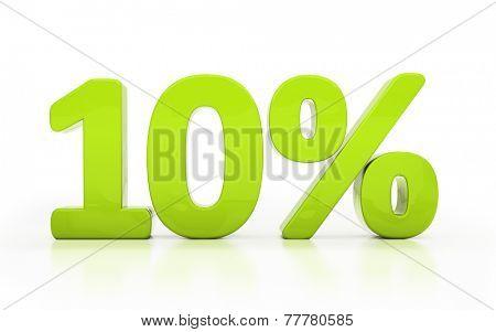 Ten percent off. Discount 10. 3D illustration