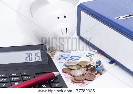 Folder with calculator and money