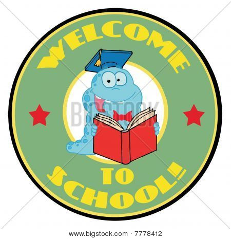 Blue Worm On A Green Welcome To School Circle