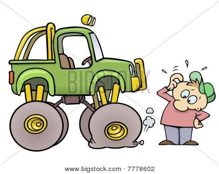 Monster truck with flat tire