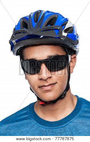 Teenager In Bicycle Helmet