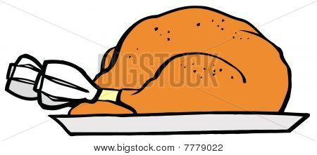 Roasted Turkey On A Tray
