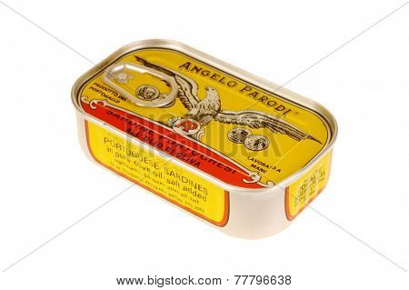 Hayward, CA - November 27, 2014: Can of Angelo Parodi brand Portuguese Sardines in pure olive oil