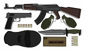 Military weapon pack terrorism.AK-47 pistol grenades knife bullets mask explosive poster