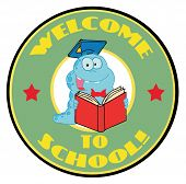 Cartoon  Mascot-Student Bookworm With Text Welcome to School! poster