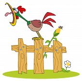 Mascot Cartoon Character A Cock Crowing Stepped On The Fence poster
