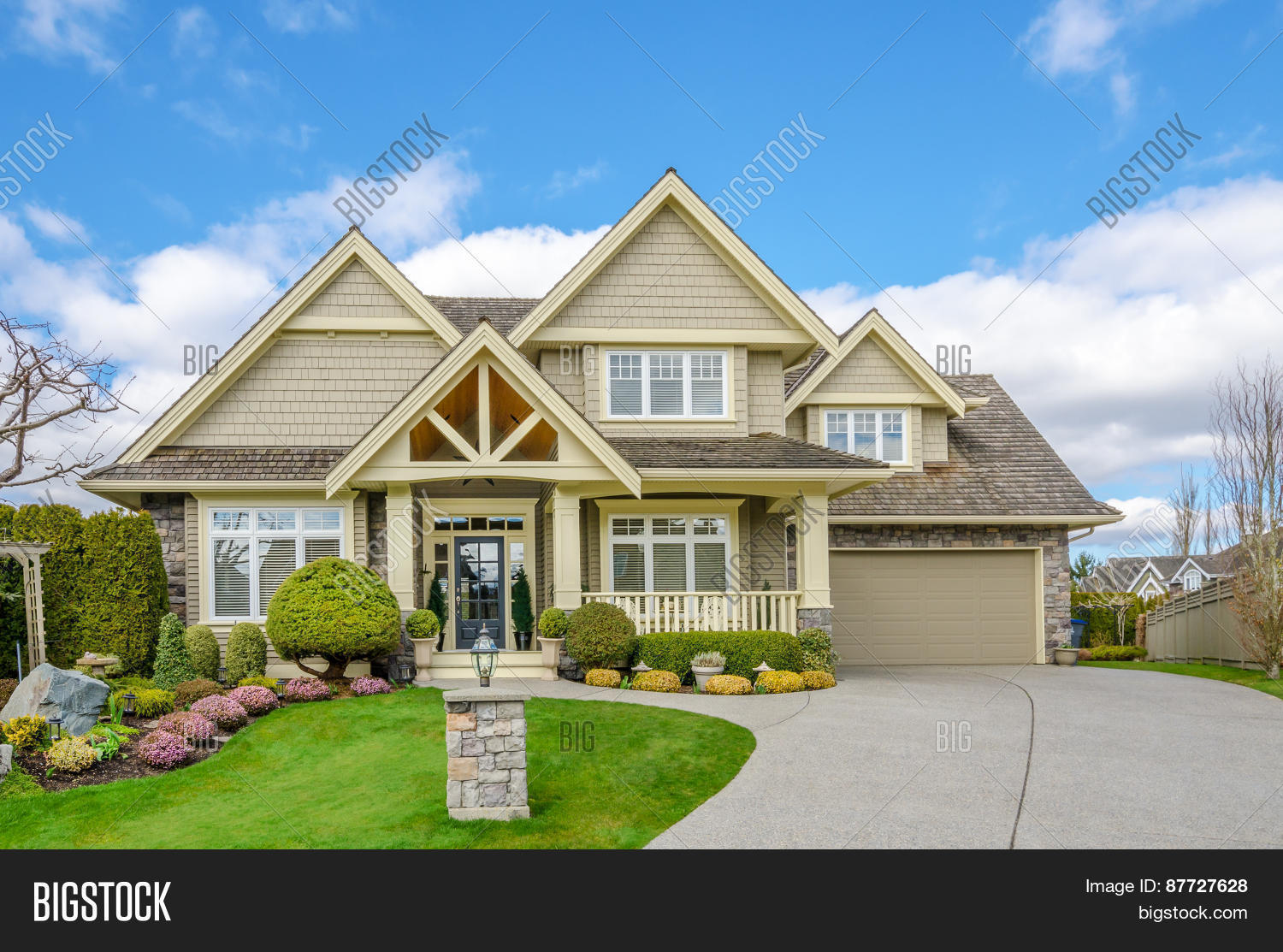 Luxury house two car image photo free trial bigstock - Beautiful home pictures exterior ...