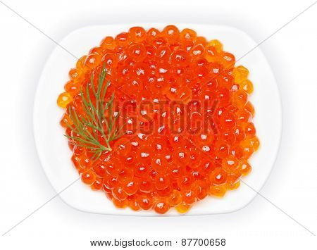 Red caviar, isolated on the white background, clipping path included.