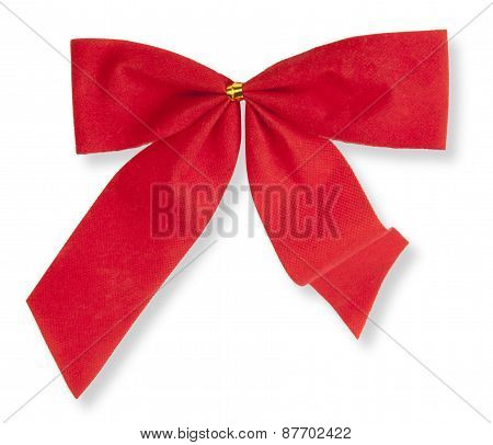 Red Bow On The White Background