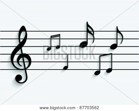 Paper Musical Notes Illustration