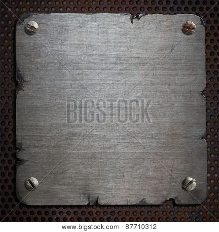 rusty metal plate with torn edges background