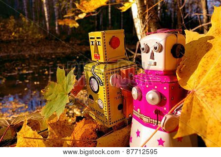 Toy robots collecting autumn leaves by the river
